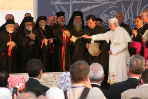 Pope Benedict blesses two cornerstones.  (Patrick Novecosky photo)